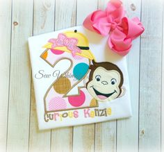 Cute Curious George Birthday shirt for those little monkeys! Great for photos, and celebrating this special day!