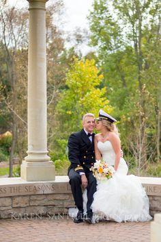 Navy wedding, bride and groom. Green Bay Botanical Gardens.