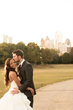 We have no words for this photo other than THIS COUPLE and THAT SKYLINE! Park Tavern in Atlanta, Georgia is an incredible venue with views for days! Park Tavern, Piedmont Park, Atlanta Georgia, Special Events, Skyline, The Incredibles, Couple Photos, Couples, Amazing