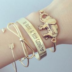 """Be brave and keep going bracelet """"Be Brave & Keep Going"""" engraved bracelet with arrow charm/lock.  *Not real gold.   No trades. Price is firm unless bundled. Jewelry Bracelets"""
