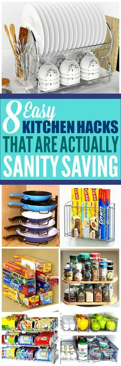 These 8 kitchen organization ideas are the best! I'm so glad I found these AMAZING home hacks! Now I have some great organization tips and organizing hacks! #homehacks #organization #organized #organizationideas #organizationtips #organizationhacks #lifehacks