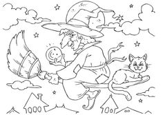A witch flying across the sky on Halloween. Halloween Coloring Pictures, Free Halloween Coloring Pages, Witch Coloring Pages, Pumpkin Coloring Pages, Cat Coloring Page, Adult Coloring Book Pages, Printable Adult Coloring Pages, Disney Coloring Pages, Halloween Pictures