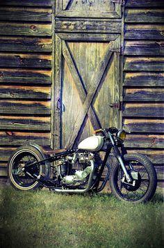 Harley Davidson Shovelhead and door.