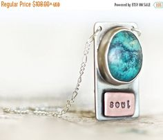 MEMORIAL DAY SALE Turquoise Pendant Necklace - Awaken The Soul- Sterling Silver with Genuine Kingman Native American Turquoise Stone-Boho Ch by amywaltz #TrendingEtsy