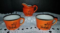 ORANGE And WHITE Porcelain MINIATURE PITCHER And SET of CUPS *Made In JAPAN* | Pottery & Glass, Pottery & China, Art Pottery | eBay!