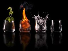 The four elements: earth, water, air, fire, create all life.