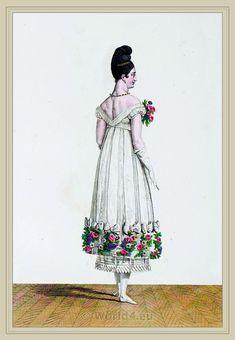 Merveilleuses Fashion. French revolution costume. Costume Robe de Bal Rayée en Rubans. Coiffure Asiatique.