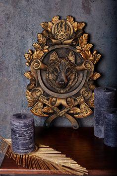 """Oak wooden element Decorative lion head wooden Carved lion rosette 4/"""""""