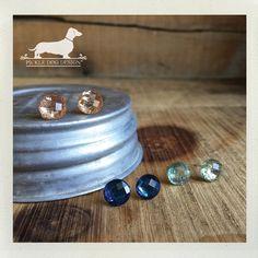 Ocean Trio. Post Earring Set  Blue Mint Green by PickleDogDesign