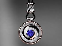 14kt. Rose and white gold Tanzanite pendant.