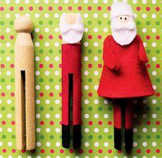 DIY Clothespin Santa  Clothespin + paint + felt