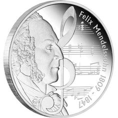 Great Composers - Mendelssohn 1809-1847 1oz Silver Proof  composers coin , perth mint coins, bullion coins , silver  coins
