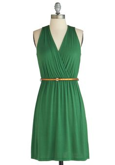 Versatile Lifestyle Dress - Jersey, Short, Green, Solid, Belted, Casual, A-line, Sleeveless, V Neck, Copper, Ruching, Exclusives
