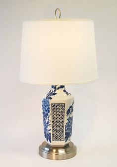 Cordless antique asian chinoiserie porcelain and brass table cordless antique asian blue and white floral chinoiserie porcelain nickel table lamp mozeypictures Image collections