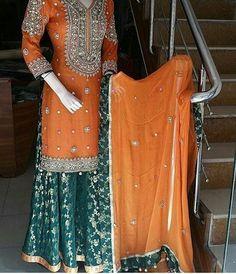 No photo description available. Wedding Dresses For Kids, Pakistani Wedding Outfits, Pakistani Dresses Casual, Pakistani Wedding Dresses, Pakistani Dress Design, Indian Outfits, Bridal Dresses, Wedding Ideas, Gharara Designs