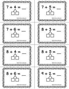 Make a Ten Strategy plastificeren en dan met marker oefenen Go Math, Math Work, Math For Kids, Math Classroom, Kindergarten Math, Teaching Math, Maths, Addition Strategies, Math Strategies