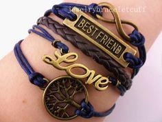 jewelry infinity karma bracelet bes friend by jewelrybraceletcuff, $3.99