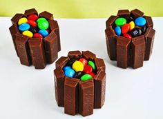 """I love this """"cupcake"""" version of the KitKat Cake. Made with the """"Fun-Size"""" KitKats! Mini Cakes, Cupcake Cakes, Bar A Bonbon, Candy Cakes, Dream Cake, Candy Bouquet, Mousse Cake, Candy Gifts, Birthday Fun"""