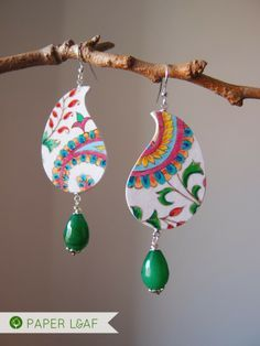convert to shrink art design -- Paisley   paper earrings   acrylic on cardboard and emerald root   Paper Leaf