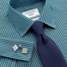 Green two colour bengal non-iron slim fit dress shirt | Slim fit dress shirts from Charles Tyrwhitt | CTShirts.com
