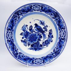 Antique Early 19th Century Blue and White Delft Holland Bird and Flowers Charger | eBay