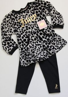 Juicy Couture Holiday Baby Girl 2 Piece Set ~ Leopard Print ~ Black & White ~  #JuicyCouture #DressyEverydayHoliday