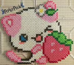 Pink Strawberry Kitty by PerlerPixie.deviantart.com on @DeviantArt