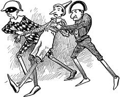 Pinocchio being taken away by two other marionettes in Carlo Collodi's novel. Source: Ginn and Company The Common School Catalogue (Boston: Ginn & Company Publishers, 1906) 40 Keywords: Pinocchio, puppets, marionettes, Carlo Collodi, literary characters, storybook, taken away Copyright: © 2004–2012 Florida Center for Instructional Technology.