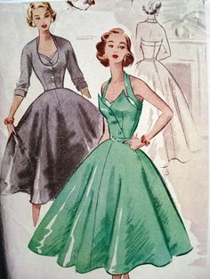 1950s EVENING DRESS, FITTED JACKET PATTERN VERY MARILYN MONROE GORGEOUS STYLE McCALL 9070