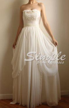 Cheap White Long Bridesmaid Dress,Wedding Dress,White Wedding Dress
