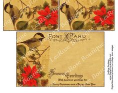 Holiday Post Cards. Vintage Bird and Poinsettia Seasons Greetings Happy New Year. US Postal Regulation Size. No.451 Print Cut and Mail. DIY