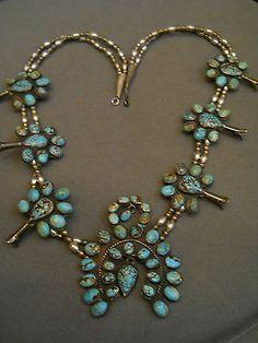 old spiderweb turquoise squash blossom necklace