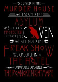 murder house, asylum, coven, freak show, roanoke nightmare