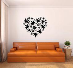 Marijuana Pot Leaf Heart Vinyl Wall Decal by LuckyLabradorsDecals, $29.99