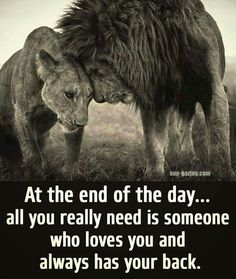 At the end of the day all you really need is someone who loves you...