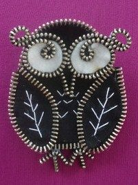 "felt and zipper jewelry ... pin .. owl ... luv the coiled ""eyebrow"" ..."