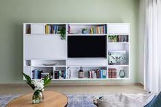 דירה בראש העין Bookcase, Flat Screen, Shelves, Home Decor, Flat Screen Display, Shelving, Decoration Home, Room Decor, Flatscreen