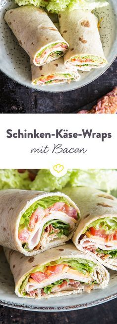 Great role on the go: ham and cheese wraps with bacon- Tolle Rolle für unterwegs: Schinken-Käse-Wraps mit Bacon The classic wraps: the popular combination of spicy cooked ham and creamy yellow cheddar. As a little extra, there& crispy bacon on top. Cheese Wrap, Ham And Cheese, Creamy Cheese, Cheese Food, Party Finger Foods, Snacks Für Party, Party Drinks, Bacon Recipes, Appetizer Recipes