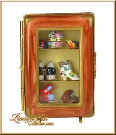 Display Case with Miniature Limoges Boxes - Retired