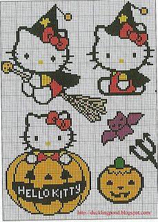 free embroidery patterns including these Hello Kitty Halloween themed charts