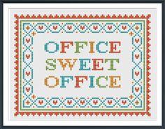 Office Sweet Office Quote Cross Stitch Pattern PDF