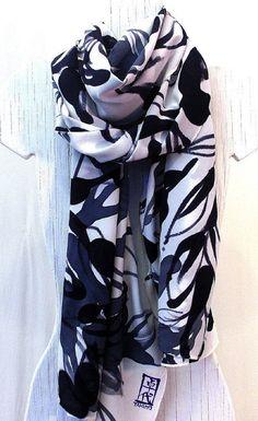 Hand Painted Silk Scarf. Handmade Silk Scarf. Japanese Silk Scarf  Zen Leaves. Luxury Silk. Silk Crepe. Silk Dye. 22x90 in. Made to Order.