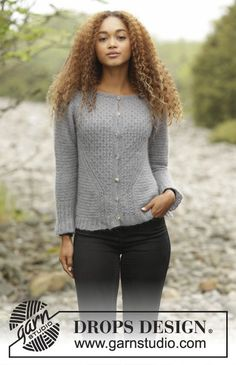Misty Harbor Cardigan by DROPS Design. So pretty and delicate in Kid-Silk. Free #knitting pattern