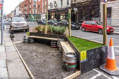 """Could this be described as a """"Smirting Garden""""?  - Dublin City Council's Latest beta Project: Using parking spaces and underutilised roadways, Dublin City Council is testing the concept of parklets (mini-parks) by running a BetaProject outside a pub on Capel street."""