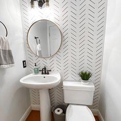 Wallpaper Accent Wall Bathroom, Bathroom Accents, Bathroom Stencil, Small Bathroom With Wallpaper, Powder Room With Wallpaper, Wall Paper Bathroom, Bathroom Wall Ideas, Bathroom Feature Wall, Half Bathroom Decor