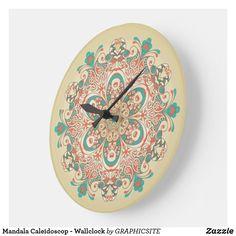 Mandala Caleidoscop - Wallclock Mandala, Clock, Boho, Clothing, Pattern, Gifts, Accessories, Vintage, Design