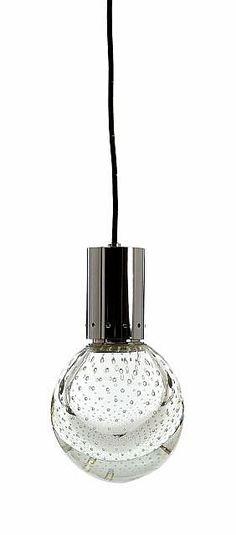 Gino SARFATTI (1912 - 1985) Grande suspension - circa 1960 Sphère en verre de Murano et métal chromé