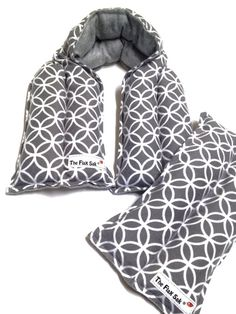 """Microwave Flax HEATING PAD Set -NECK wrap and Lumbar pack-Grey and white - Gifts for her - neck therapy- Heat/cold pad- long""""The FLaX SaK"""""""