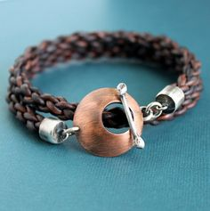 Mens Leather Wrap Bracelet Thick Braided Cord by LynnToddDesigns
