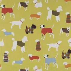 Bold and Whimsical! Modern graphic dog print fabric. Love the Citron background.